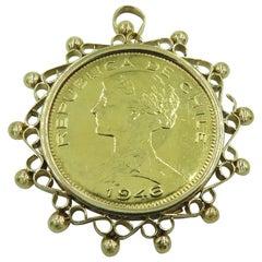 Gold Republica De Chile Coin Pendant