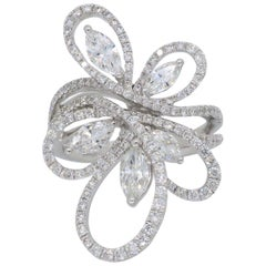 Floral Design Abstract Diamond Fashion Ring