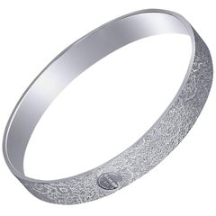 Sterling Silver Platinum Textured Bangle Bracelet