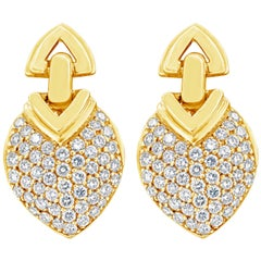 Yellow Gold and Diamond Geometric Shape Clip-On Earrings