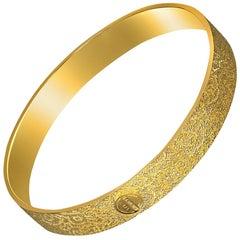 Sterling Silver Gold Textured Bangle Bracelet