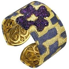 Garnet Sterling Silver Gold Platinum Hinged Cuff Bracelet
