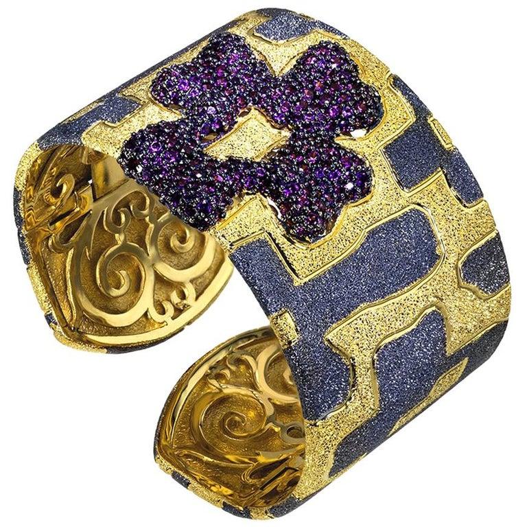 Garnet Sterling Silver Gold Platinum Hinged Cuff Bracelet For Sale