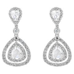 Rose Cut Pear Shape Diamond Double Halo Dangle Earrings