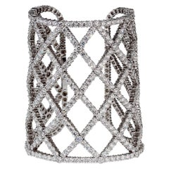Boucheron 65 Carats Of Diamonds White Gold Cuff Bracelet
