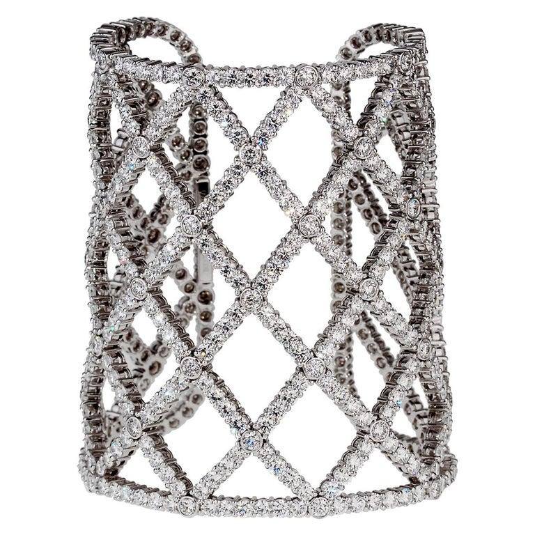 Boucheron Weave Diamond White Gold Cuff For Sale