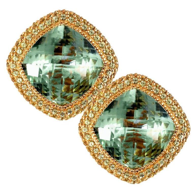 Alex Soldier Green Amethyst Peridot Gold Earrings Cufflinks One of a Kind For Sale