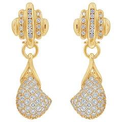 3.50 Carat Diamond and Yellow Gold Modern Drop Earrings