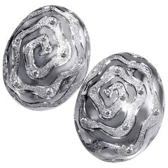 Diamond 18K White Gold Textured Earrings Cufflinks One of a Kind