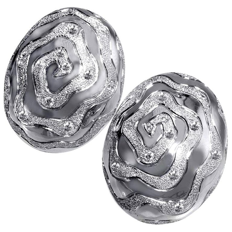 Diamond 18K White Gold Textured Earrings Cufflinks One of a Kind For Sale