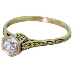 Art Deco 0.35 Carat Old Cut Diamond Engagement Ring