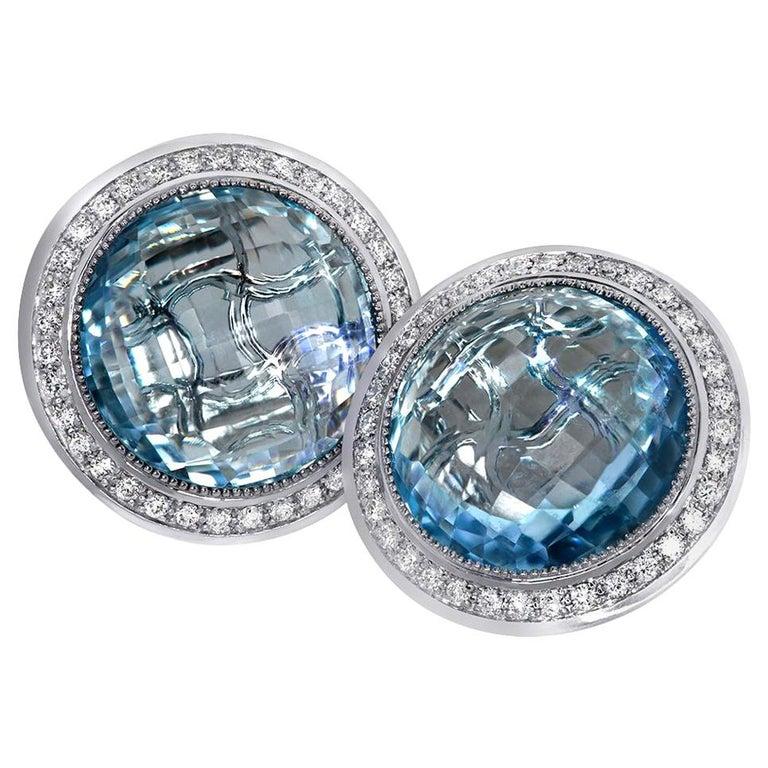 Alex Soldier Blue Topaz Diamond Gold Stud Earrings Cufflinks One of a Kind For Sale