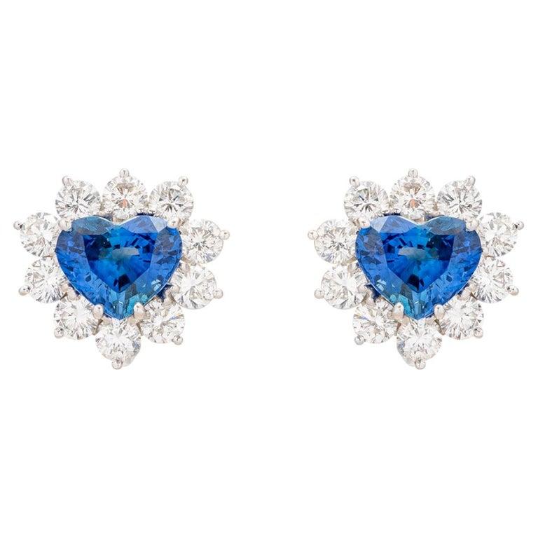 4.91 Carat Heart Shaped Sapphire Diamond Earrings For Sale