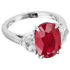 "Bayco GRS Certified ""Pigeon's Blood"" 5.03 Oval Burma Ruby Diamond Platinum Ring"