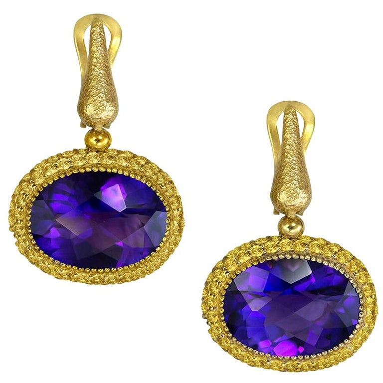 Amethyst Sapphire Gold Drop Textured Earrings One of a Kind For Sale
