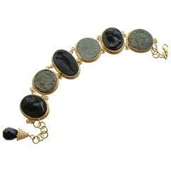 Venetian Glass Cameo Intaglio Bracelet Ancient Roman Coins, Roma Bracelet II