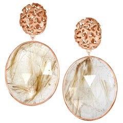Alex Soldier Rutilated Quartz Rose Gold Hand-Textured Drop Earrings