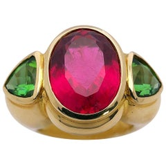 Cellini Jewelers 18KT Gold, 7.27Ct. Rubellite and 2.38Ct. Green Tourmaline Ring