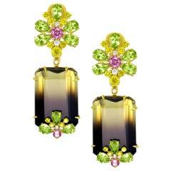 Alex Soldier Lemon Smoky Quartz Peridot Topaz Sapphire Diamond Gold Earrings