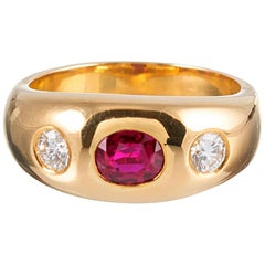 French Ruby and Diamond 18 Carat Gold Gypsy Ring