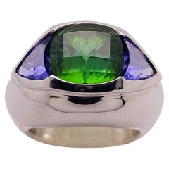 Cellini Jewelers 18KT Gold 4.77Ct. Chrome Tourmaline & 2.12Ct. Tanzanite Ring