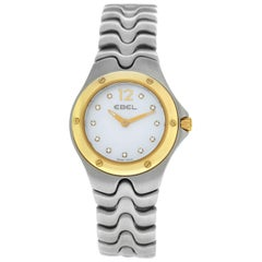 New Authentic Ladies Ebel Sportwave Steel Diamond Mother of Pearl Quartz Watch