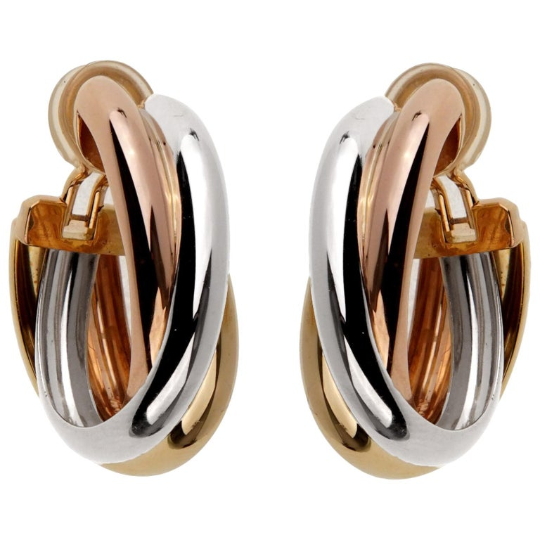 Cartier Trinity Large Gold Hoop Earrings For Sale
