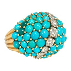 Cartier 1950s Gold, Turquoise, and Diamond Ring of Domed Design