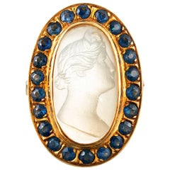 Mystical Moonstone Cameo Ring with Sapphire Frame
