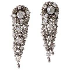 1970s Charles de Temple Diamond and Platinum Long Day or Night Earrings
