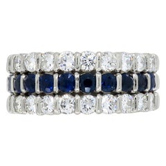 Diamond and Blue Sapphire Eternity Ring in Platinum
