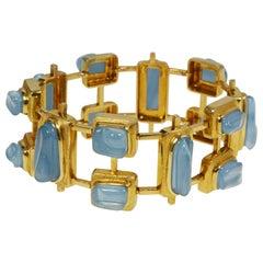 1960s Roberto & Haroldo Burle Marx Forma Livre Aquamarine and Gold Bracelet