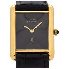 Cartier Tank Must de Men's Sized Watch with a Black Dial, 1990s