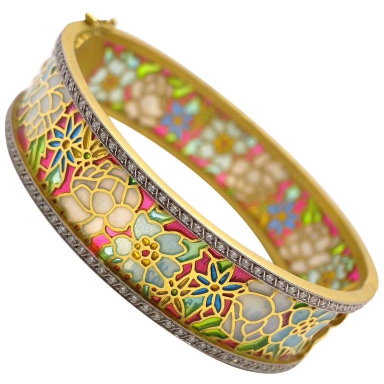Masriera 18KT Gold & Plique-a-Jour Enamel Bangle Bracelet with .94Ct. Diamonds For Sale