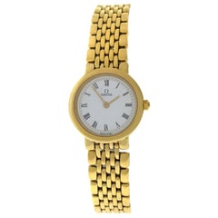 Authentic Ladies Omega Deville 18 Karat Yellow Gold Plated SS Quartz Watch