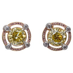 Graff GIA Vivid Yellow Diamond Earrings