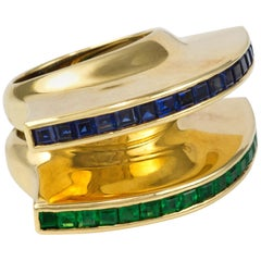 1980 Paloma Picasso for Tiffany & Co. Sapphire, Emerald and Gold Rings