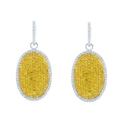 GIA Certified 3.04 Carat Total Fancy Intense Yellow Diamond Two-Tone Earrings