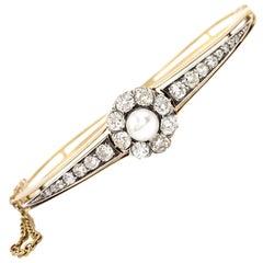 1920s Yellow Gold and Old European Diamond Pearl Bangle Bracelet