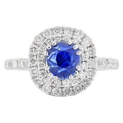 AGL Certified 2.39 Carat Non Heated Kashmir Blue Sapphire and Diamond Ring