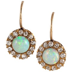 Antique Opal and Diamond Cluster Earrings