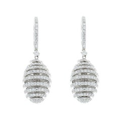 3.84 Carat Total Diamond Swirled Drop Earrings in 18 Karat White Gold