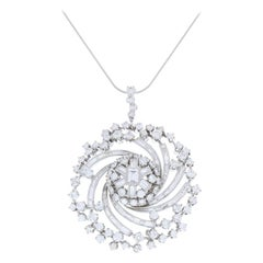 8.80 Carat Total Round and Baguette Diamond Pendant in Platinum