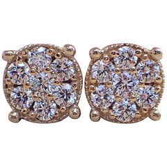 18 Karat Yellow Gold Stud Cluster Earrings Are Set with 0.77 Carat of Diamond