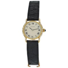 Ladies Cartier Paris Ronde 18 Karat Gold Diamond Mechanical Watch