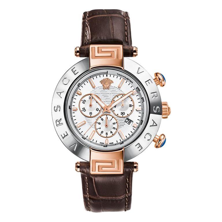 New Versace Reve Steel Gold Tone XL Quartz Chrono Date Watch For Sale