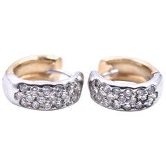 14 Karat Yellow and White Gold Diamond Huggies