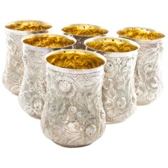 "Galmer Sterling Mint Juleps in a Repoussé Pattern ""Flowers"" with a Gold Wash"