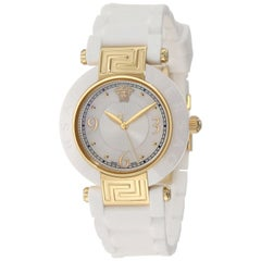 New Versace Reve Ceramic Quartz Gold Tone Steel Mother of Pearl Watch