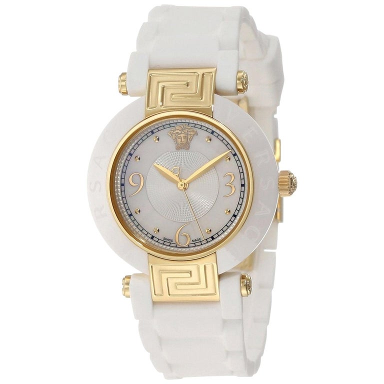 ae4a85c8f New Versace Reve Ceramic Quartz Gold Tone Steel Mother of Pearl Watch For  Sale
